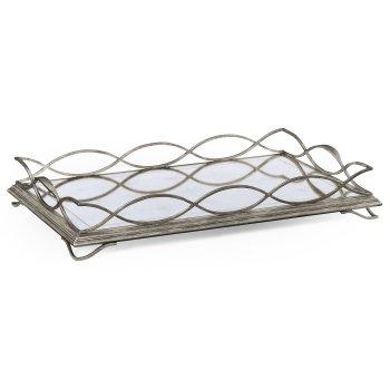 Jonathan Charles Furniture Designer Silver Mirror Serving Tray, Rectangular