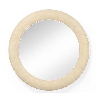 Jonathan Charles Furniture Designer Cream Leather Round Wall Mirror