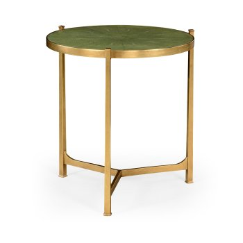 Jonathan Charles Furniture Large Round Green Leather Lamp Table