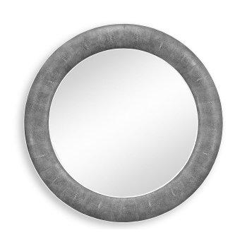 Jonathan Charles Furniture Designer Grey Leather Round Wall Mirror