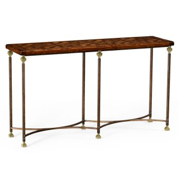 Jonathan Charles Furniture Narrow Walnut Iron Console Table