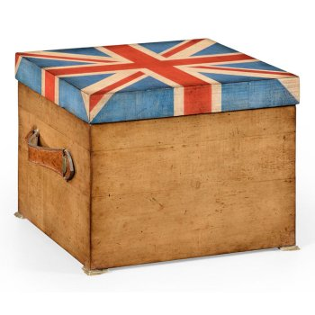 Jonathan Charles Furniture Union Jack Storage Box With Leather Handles