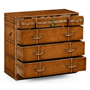 Jonathan Charles Furniture Travel Trunk Style Leather Chest of Drawers