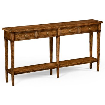 Jonathan Charles Furniture Country Style Walnut 4 Drawer Console Table with Shelf