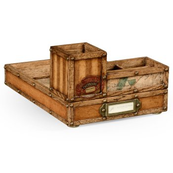 Jonathan Charles Furniture Vintage Oak Desk Organiser