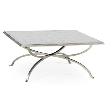 Jonathan Charles Furniture French Glass Square Coffee Table, Silver