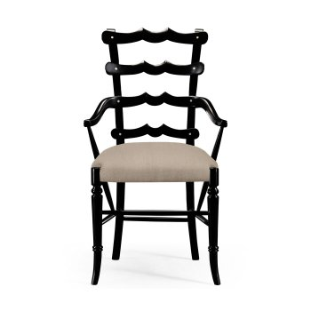 Jonathan Charles Furniture Black Yoke Ladderback Armchair