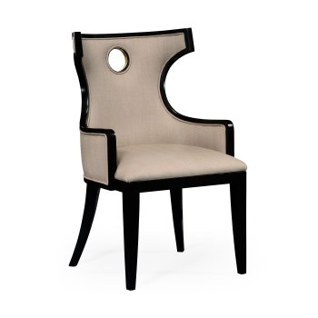 Jonathan Charles Furniture Black Dining Armchair in Biedermeier Style