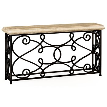 Jonathan Charles Furniture Console Table With Ornate Iron Frame