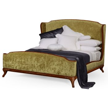 Jonathan Charles Furniture Upholstered Bed, Velvet Lime / French Bed, Super King, Walnut