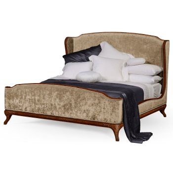 Jonathan Charles Furniture French Velvet Upholstered Bed, Super Kingsize, Walnut
