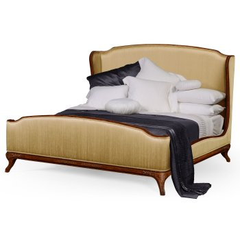 Jonathan Charles Furniture French Silk Upholstered Bed, Super Kingsize, Walnut