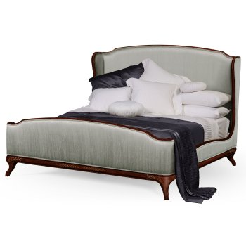 Jonathan Charles Furniture French Silk Upholstered Bed, Super Kingsize, Mahogany