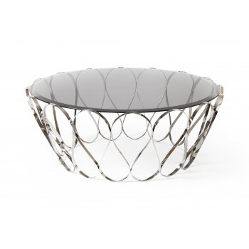 Boca Do Lobo Furniture Aquarius Glass Coffee Table, Stainless Steel