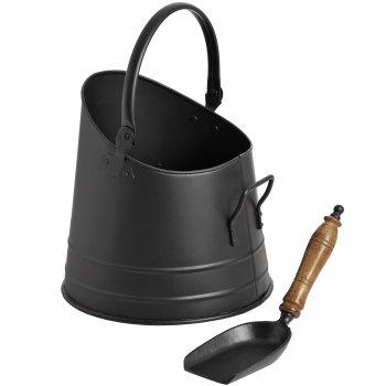 Contemporary Black Coal Bucket with Shovel