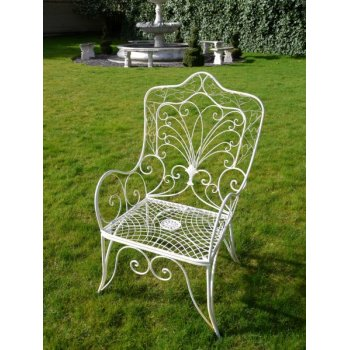 French White Garden Chair, Iron