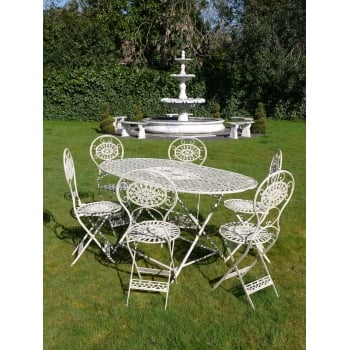 Grey 6 Seater Outdoor Dining Set/Cream Patio Set