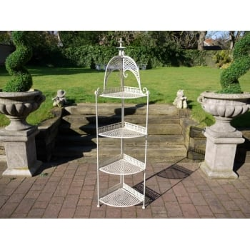 Flower Stand, Metal/Corner Plant Stand, White