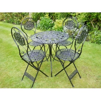 Black Bistro Set /Patio Furniture, 4 Seater