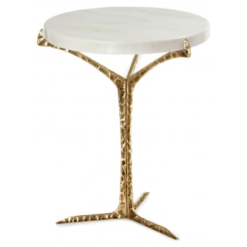 Insidherland Furniture Marble Side Table, Brass / Alentejo