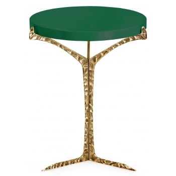 Insidherland Furniture Brass Side Table, Green Lacquered / Alentejo
