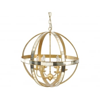 Gold Orb Chandelier / Modern Ceiling Light, 6 Light