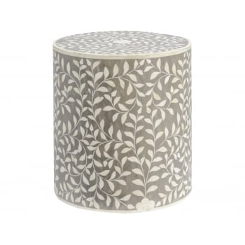 Small Stool, Grey / Bone Inlay Furniture