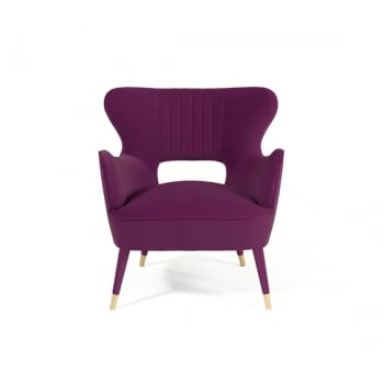 Munna Furniture Mid Century Armchair Babe, Mulberry