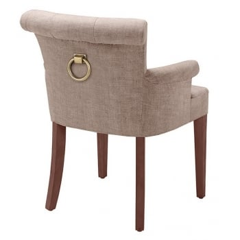 Eichholtz Furniture Dining Chair With Back Ring & Armrests, Camel Colour Linen