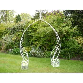 White Metal Garden Arch Ideal For Wedding Days