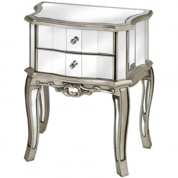 Pair of Mirrored Bedside Tables, Silver