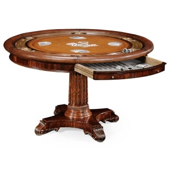 Jonathan Charles Furniture Mahogany Card Table/Round Poker Table