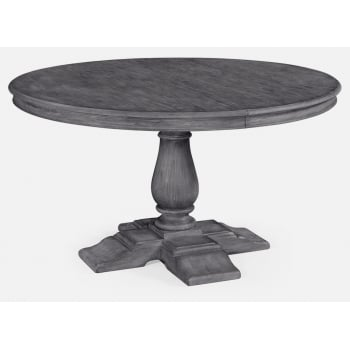 Jonathan Charles Furniture Dark Grey Round Extending Dining Table 140cm - 182cm