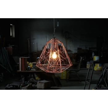 Wire Lamp/Geometric Pendant Light, Copper