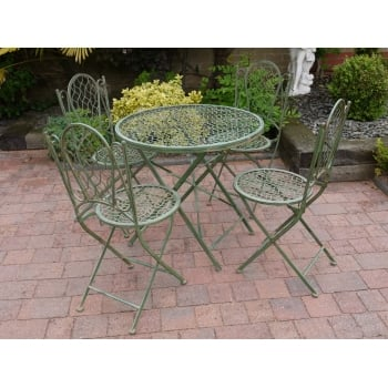 4 Seater Dining Set, Green / Green Patio Set