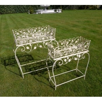 Set Of 2 Free Standing Metal Planters / Stands