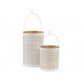 Set of 2 White & Gold Hurricane Tealight Holders