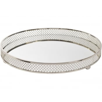 Round Nickel Plated Mirror Serving Tray