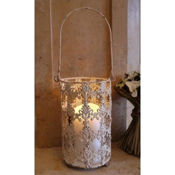 Large Metal Hanging Lantern, Cream