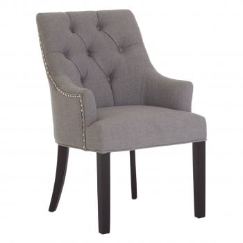 Fifty Five South Kensington Studded Dining Chair Grey With Black Legs