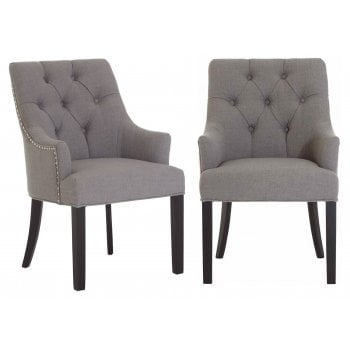Fifty Five South Kensington Studded Pair of Dining Chairs Grey