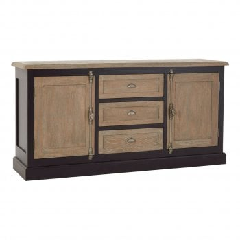 Fifty Five South Kensington Oak 2 Door 3 Drawer Sideboard Black
