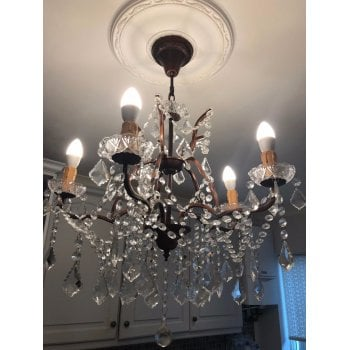 5 Light Glass Chandelier, Bronze Finish
