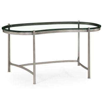 Jonathan Charles Furniture Silver Kidney Glass Desk Writing Table