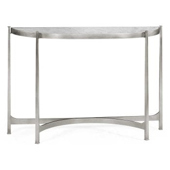 Jonathan Charles Furniture Modern Silver Demilune Console With Glass Top