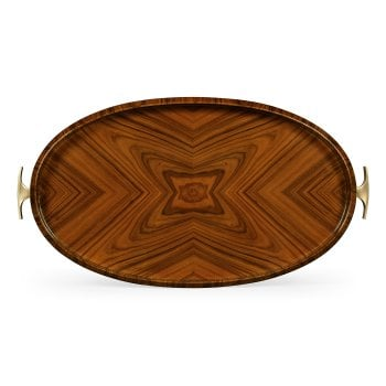 Jonathan Charles Furniture Art Deco Oval Serving Tray, High Lustre