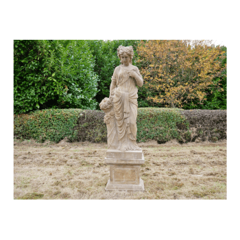 Hand Carved Stone Lady with Flowers Sculpture
