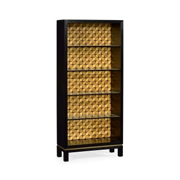 Jonathan Charles Furniture Designer Black Bookcase With 3D Geometric Pattern