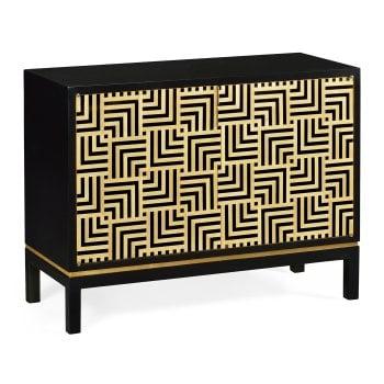 Jonathan Charles Furniture Designer Black Cabinet With Geometric Shape