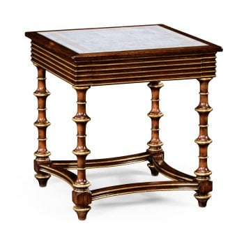 Jonathan Charles Furniture Walnut Side Table With Glass Top